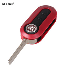 KEYYOU 3 Button Remote Flip Key Fob Case shell FOR FIAT 500 PANDA BRAVA PUNTO STILO With LOGO
