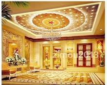Custom 3d ceiling wallpaper The great hall of the people the zenith ceiling hotel room mural wallpaper(China)