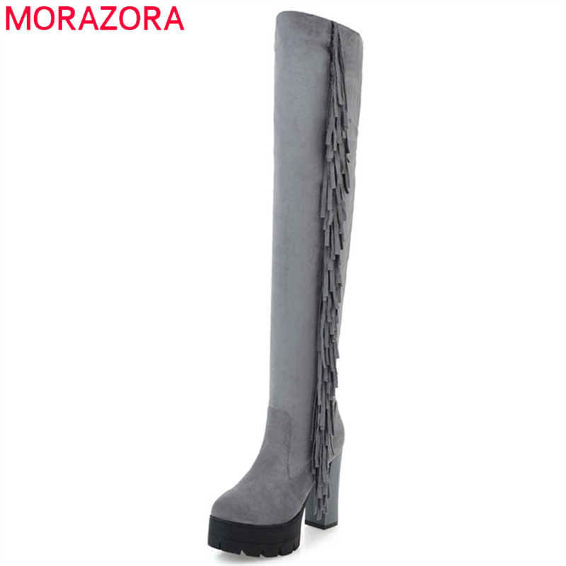 MORAZORA Over the knee boots stretch fashion shoes platform boots in spring autumn high heels boots female tassel solid<br>