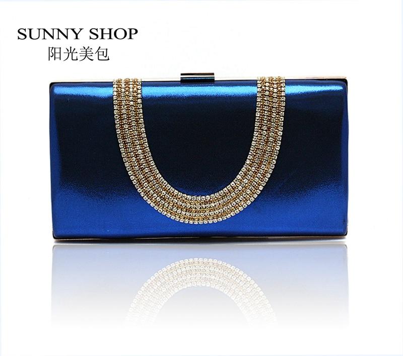 SUNNY SHOP Evening bag day clutch luxury diamond evening bag banquet bag bridal bag bridesmaid package womens handbag navy blue<br><br>Aliexpress