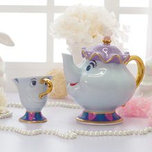 Hot Sale Cartoon Beauty And The Beast Tea Set Teapot Cup Mrs Potts Chip Tea Pot Cup Set Kettle 2PCS One Set Ideal Gift Dropship