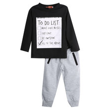 Fashion Cool Baby Kids Boys Cotton Black Long Sleeved Shirt Sweater+Gray Long Pants Sets 3-7Years(China)
