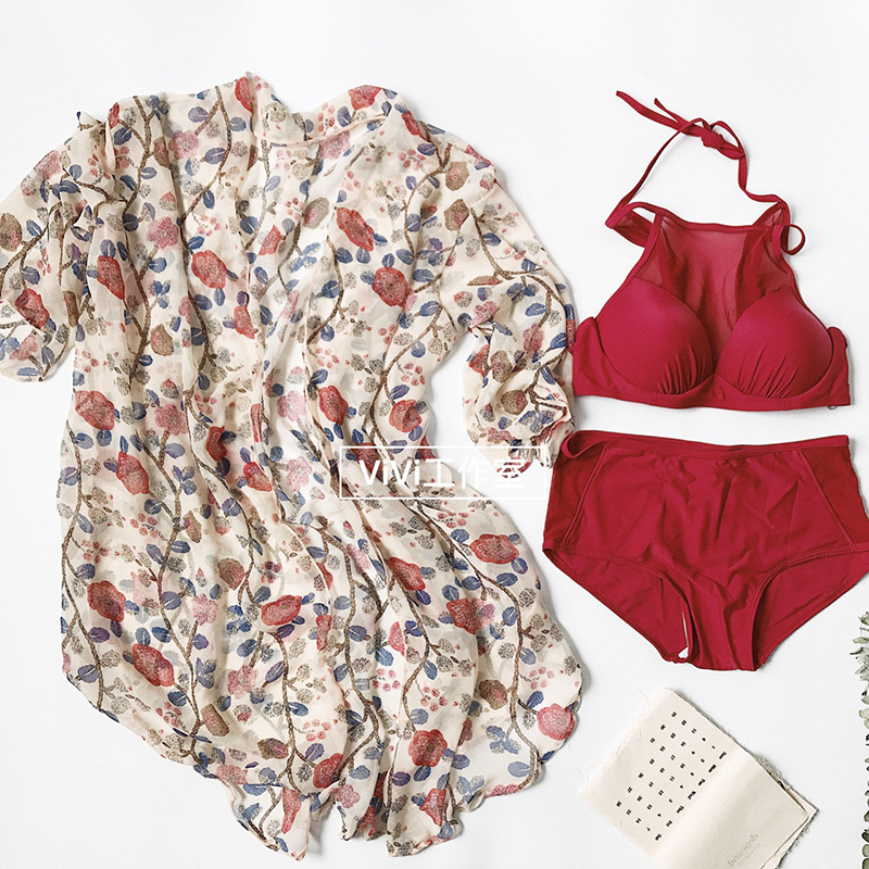 Three piece swimsuit female conservative split small chest gather blouse cover belly swimsuit boxer anti Sai hot bikinis<br>