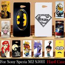 For Sony Xperia M2 S50H Aqua D2303 D2305 D2306 Case Hard Plastic Mobile Phone Cover Case DIY Color Paitn Cellphone Bag Shell(China)
