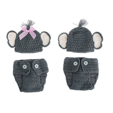 Newborn Baby Elephant Knit Crochet Hat Costume Photo Photography Prop Outfits Baby Girl Clothes Carters Baby Boy Clothes(China)