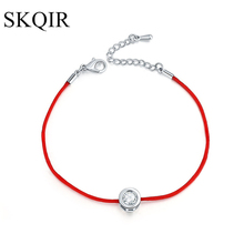 SKQIR Fashion Women Thin Red Cord Thread String Rope Chain with CZ Zirconia Silver Color Bracelet for Female Jewelry pulseras(China)