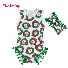 Baby Christmas Overalls Girls Santa Claus Green Dot Fashion Rompers Cotton Jumpsuit Newborn Infant One-Piece Xmas Party Clothes