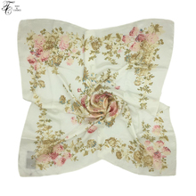 Tony&Candice 100% Silk Scarf Luxury Brand Scarf Women 2017 Cotton Long Scarf Ladies Shawl Colorful Print Fashion Scarves 85*85CM(China)