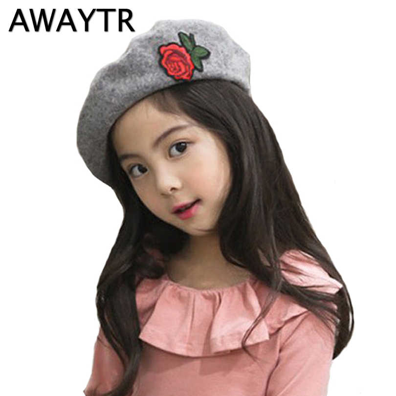 Detail Feedback Questions about Berets for Baby Girl AWAYTR 2019 New  Children Autumn Rose Flower Beret Little Girls Spring Hats Dome Cap Girl  Fashion Caps ... ab9fbe2a6a9