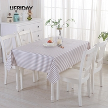 UFRIDAY Sytlish Light Gray Plaid Decorative Table Cloth PVC Rectangle Tablecloth Tea Dining Table Cover For Kitchen Home Decor(China)