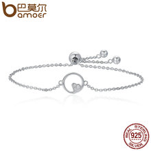 Buy BAMOER Genuine 925 Sterling Silver Sweetheart Heart Circle Chain Bracelets Women Luxury Authentic Silver Jewelry SCB020 for $8.99 in AliExpress store