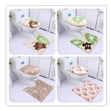 Free shipping Bathroom printed toilet cover set 3pcs a set toilet seat mat closestool mat toilet seat +U shape mat+seat cover(China)