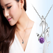 Cute 2 Dolphins Family Stroll Design Pendant Necklaces Women Charming Crystal Chain Necklace Chocker necklace Free shipping(China)
