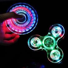 Crystal Fidget Spinner Finger ABS EDC Hand Spinner With LED Light For Kids Autism ADHD Anxiety Stress Relief Focus Handspinner(China)
