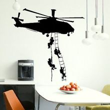 Helicopter Army Sticker Adhesive Vinly Wall Art For Boys Bedroom Huge Marines Wall Stickers Home Decoration