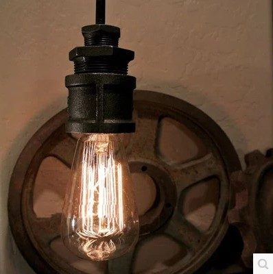 60W Retro Loft Style Water Pipe Vintage Industrial Pendant Lights Fixtures With Edison Bulbs ,Lamparas Vintage colgantes<br>