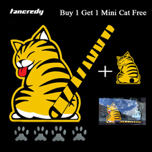 Tancredy Reflective Car Stickers Cartoon Funny Moving Tail Cat Stickers Car Styling Window Wiper Decals Rear Windshield Sticker