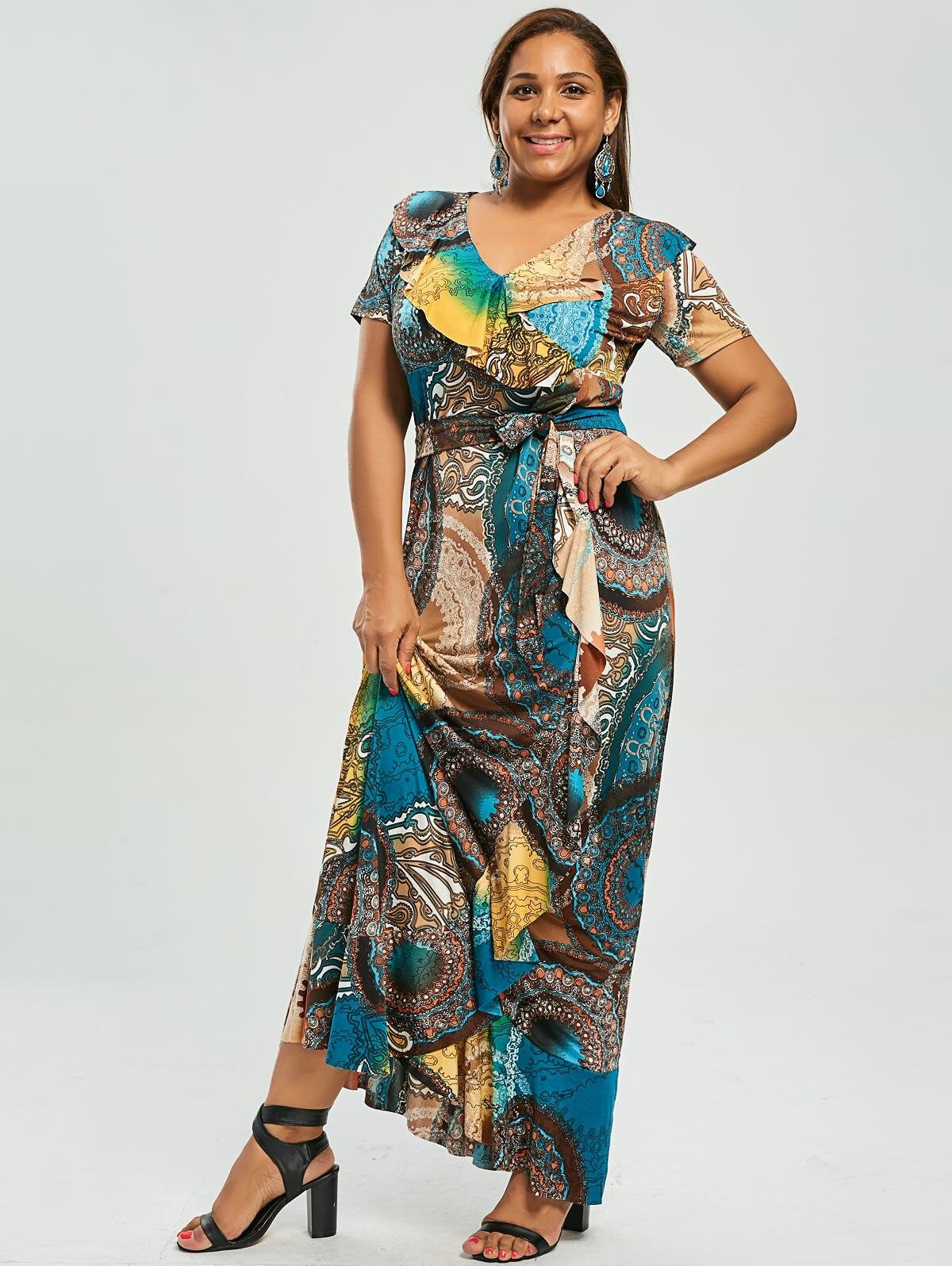 Gamiss Plus Size Print Ruffle Maxi Long Bohemian Dress Gypsy Maxi ...