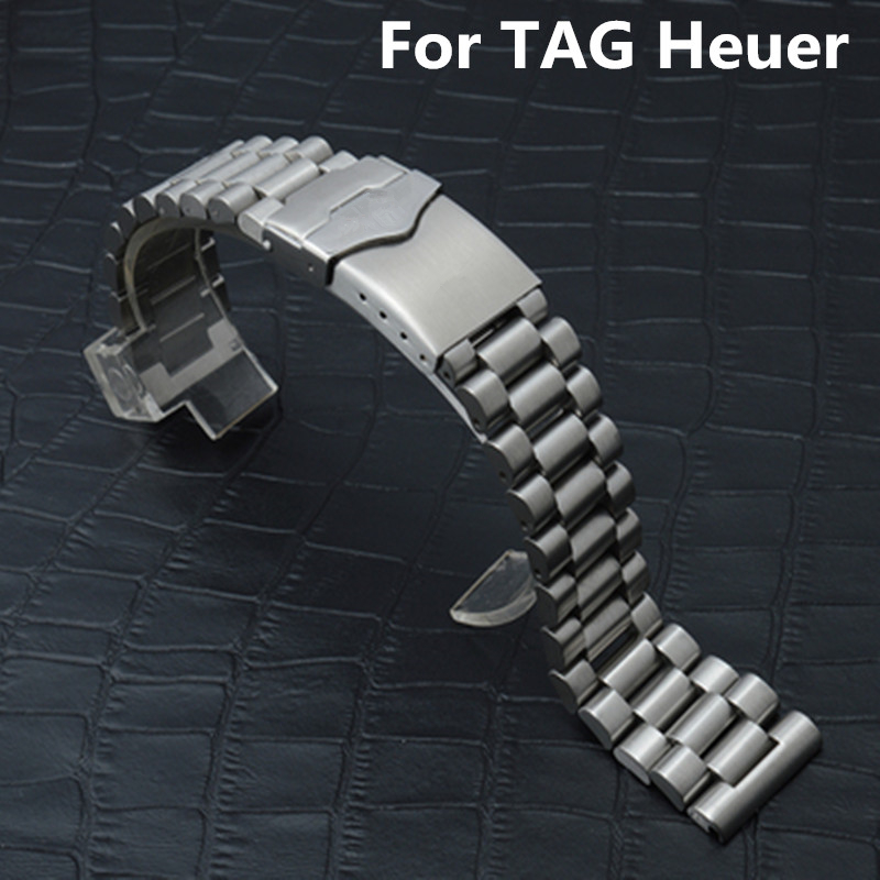 TJP Original 20MM 22MM Silver Men Women Full Stainless Steel Watch Strap Wacthband For TAG Watch Heuer CARRERA Wristband<br>