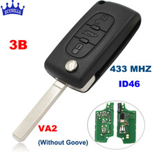3 Button Flip Folding Key Remote Control with ID46 Electronic Chip inside 433MHz for Peugeot 407 408 after 2005 years VA2(China)