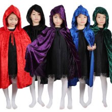 Red Black Hood Girl Boy Death Cloak Magician Witch Wizard Cloak Cape Robe Fantasia Infantil Halloween Costume for Children Kids(China)