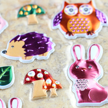 High Quality Emoji Reward Kid Forest Animals Owl Hedgehog Squirrel Fox Scrapbooking Shiny Sparkle Undulate Bubble Puffy Stickers(China)