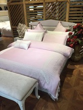 100% Cotton light pastel purple bedding set with Tassels princess wedding duvet cover 240*220cm queen king size bedspread linen(China)