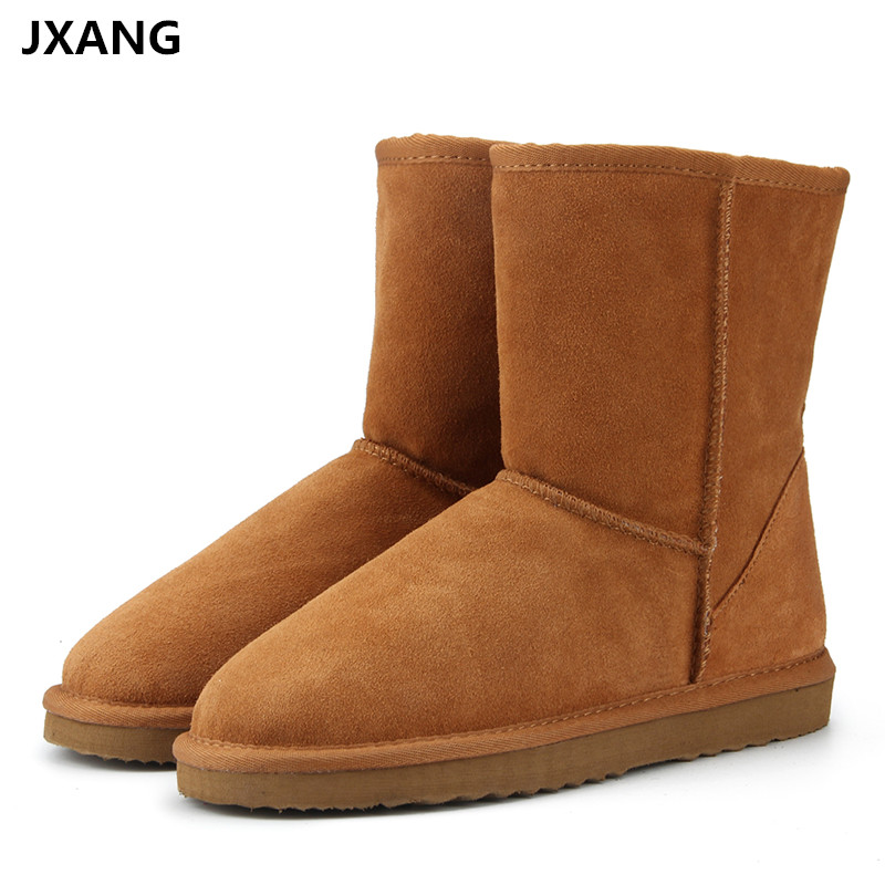 JXANG High Quality Genuine Leather UG Australia Classic Fur snow boots Women Boots Warm winter shoes for women boots large size <br>