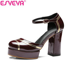 ESVEVA 2017 Women Pump Round Toe Platform Party Shoes Ankle Strap Patent Leather Women Square High Heel Wedding Shoes Size 34-42