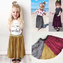 2-7Y Baby Girls Pleated Skirt clothes 2017 Velvet Kids Princess Wedding Party Kids Tulle Tutu Skirt(China)