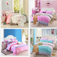 Lovely Sweet Floral 4Pcs Single/Twin/Full/Queen Size Bed Quilt/Duvet Cover Set Sheet Pillowcase Shams Beige Pink Green Hearts