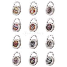 Various Skull Pattern Table Foldable Purse Bag Rhinestones Hanger Handbag Hook Holder