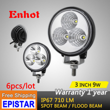 ENHOT 6pc 3'' 9W LED Work Light Bar spot flood beam for Indicators Motorcycle Driving Offroad Boat Car Tractor Truck 4x4 SUV ATV(China)