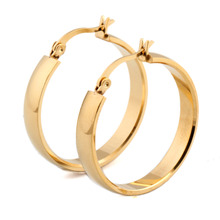 Buy Brand Earrings Women Fashion Jewelry Gift Wholesale Trendy 2 Colors Gold Color Stainless Steel Hoop Earrings for $3.11 in AliExpress store
