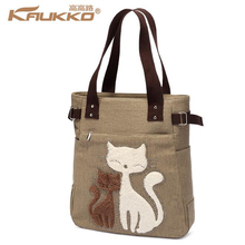 Cute Cat Totes Women Canvas Handbags Casual Shopping Female Large Capacity Lady Handbags Feasts Shoulder Bags one head KAUKKO(China)