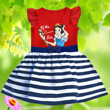 Snow White Baby Girls Kids Dress Costume Toddler Party Striped Bow Dress