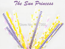 Free Shipping Princess theme colors purple Chevron pink Stripe yellow Polka Dot Drinking Paper Straw Wholesale party decoration(China)