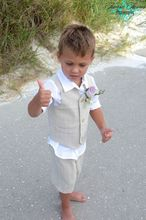 New 2016 Summer Beach Boys Wedding With Clothes With (white Shirt + Short Pants +Vest ) Kids Tuxedo Suits Cute Formal Clothing