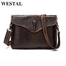 WESTAL Genuine Leather Men Bags Fashion Crocodile Pattern Man Crossbody Shoulder Bag Men's Small Briefcase Men Clutch Bags 9113