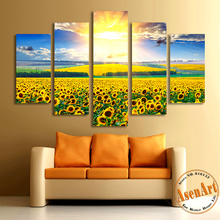 5 Pieces Canvas Wall Painting Golden Sunset Sunflower Filed Canvas Prints Paintings for Living Roon Wall Art Picture Home Decor