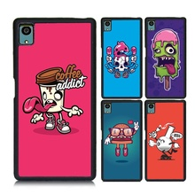 for Sony Xperia Z5 Coffee Cup Cover Skull Hat Hamburger Sassy Emoji Painted Soft TPU Hard PC Lovely Shockproof Cover Cases(China)