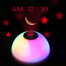 Moon and star project table clocks projection mute desk alarm clocks LCD display colorful alarm clock with backlight