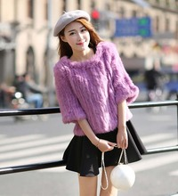 Clearance Special offer new genuine real natural women's fashion knitted rabbit fur coat women knit sweater pullovers
