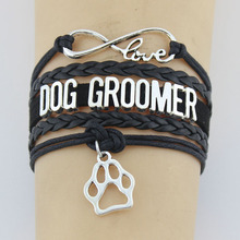 Drop Shipping Infinity Love Dog Groomer Bracelet Dog Pet Paw Charm Handmade leather Career Job For Women & men Bracelets Jewelry