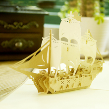 """Sailing Boat"" Handmade Kirigami & Origami 3D Pop UP Greeting Cards For Birthday Gift Postcards Paper laser cut Thank you cards(China)"