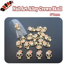 For Nails Art 10pcs 3D Gold Crown Skull Alloy Glitter Rhinestones DIY for Nail Art Decoration