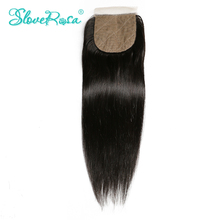 Slove Rosa Silk Base Closure Straight Free Part Brazilian Remy Human Hair 4x4 Middle Brown Lace Bleached Knots With Baby Hair(China)