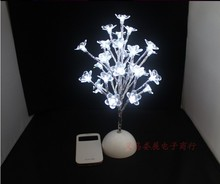 38cm Height 32 LEDs/Artificial Fake Plastic White Tree Bonsai Flower Lamp/Christmas Wedding Party House Garden Decoration Light