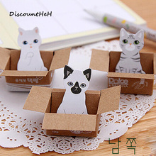 3D Cartoon Kawaii Scrapbooking Cat Box Stickers Cute Korean Stationery Sticky Notes Office School Supplies Memo Pad(China)