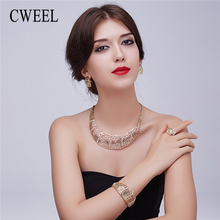CWEEL Women Jewelry Sets Retro African Bridal Wedding Jewelry For Bride Dubai Jewelry Sets Indian Choker Costume Jewellery(China)